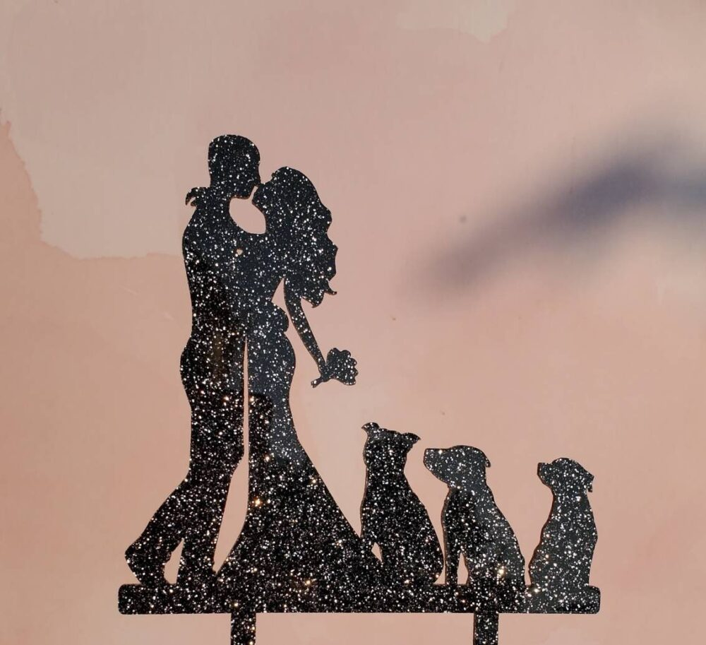 Family Cake Topper, Wedding, Wedding Silhouette Cake, Topper With Dogs, Dogs