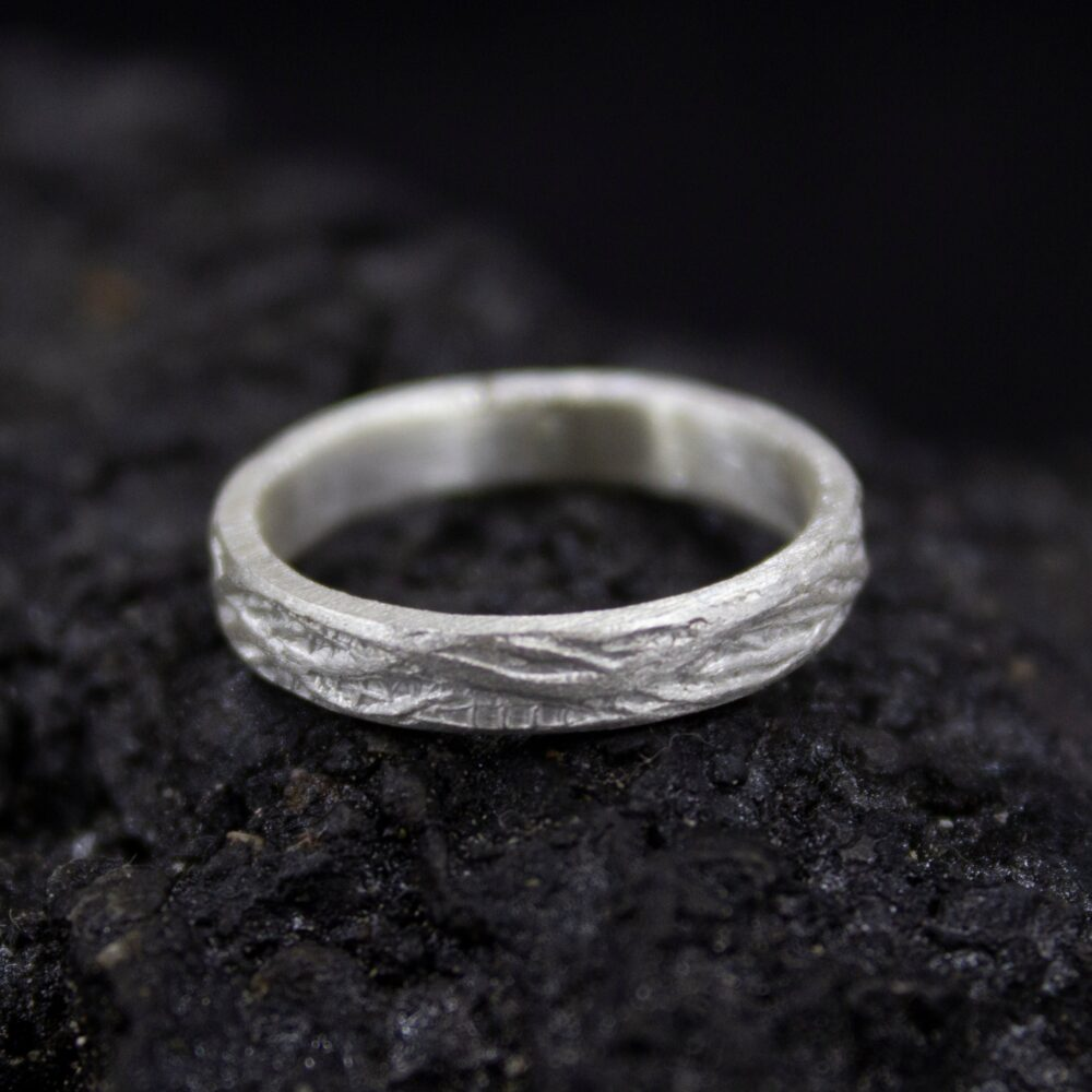 Wedding Silver Tree Bark Ring   24K Gold Plated 925 Sterling Rustic Bands Promise 3 Mm Engagement By Pellada