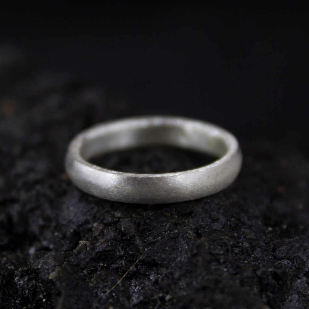 Wedding Silver Satin Ring   925 Sterling Unisex Band Promise 3 Mm Matte Engraving By Pellada
