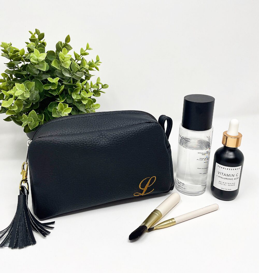 Personalized Makeup Bag, Bridesmaid Gift, Cosmetic Vegan Leather Case, Wedding Gifts, Bridal Party