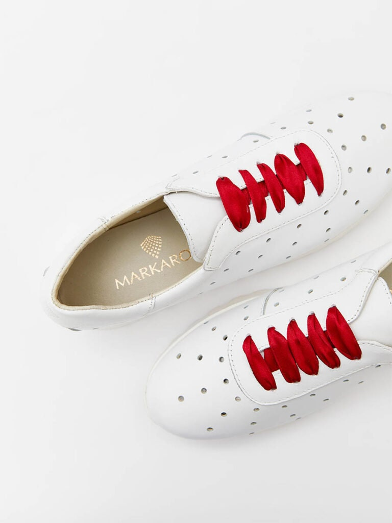 Women's White Leather Sneakers With Red Satin Ribbons
