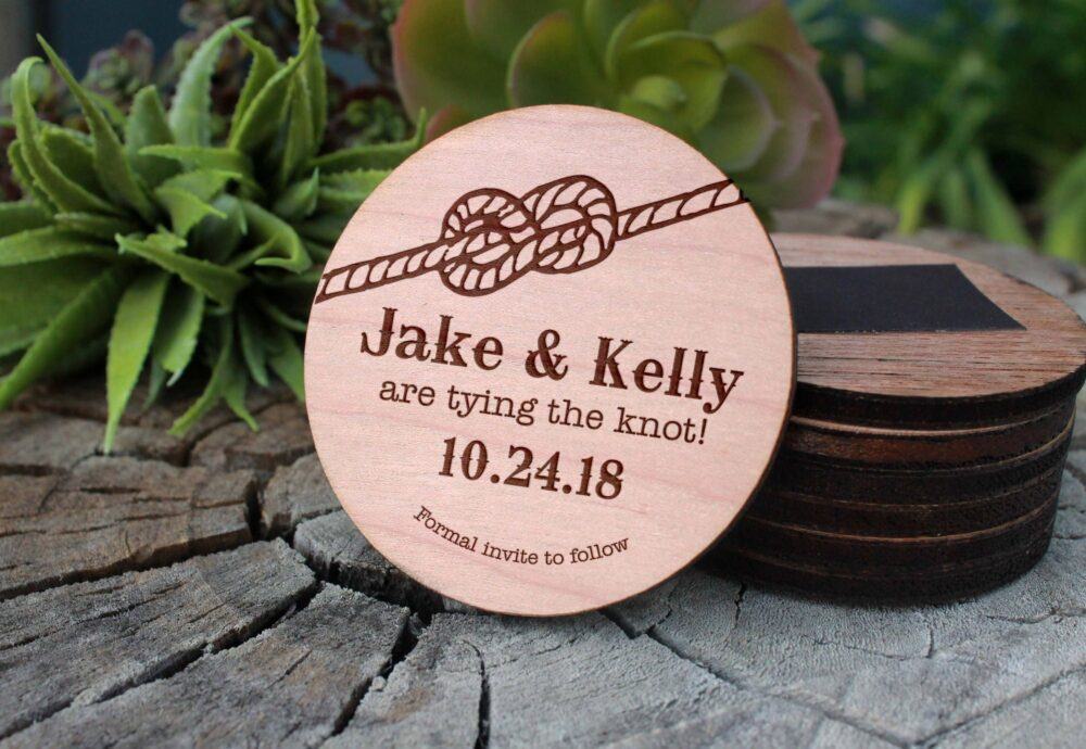 Tie The Knot Save Date Magnet, Wood Date, Custom Personalized Mag-Wood-Jakekelly
