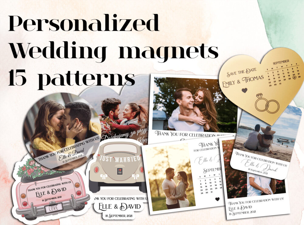 Save Date Magnets, Wedding Magnet, Custom Save The Date, Wooden Customize Thank You Magnets