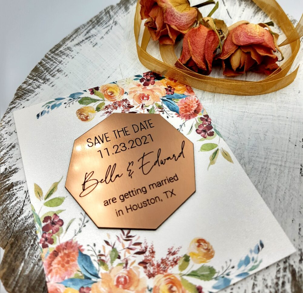 Save The Dates - Wedding Save Date Magnet Made in Gold, Silver Or Copper Acrylic Magnets With Cards