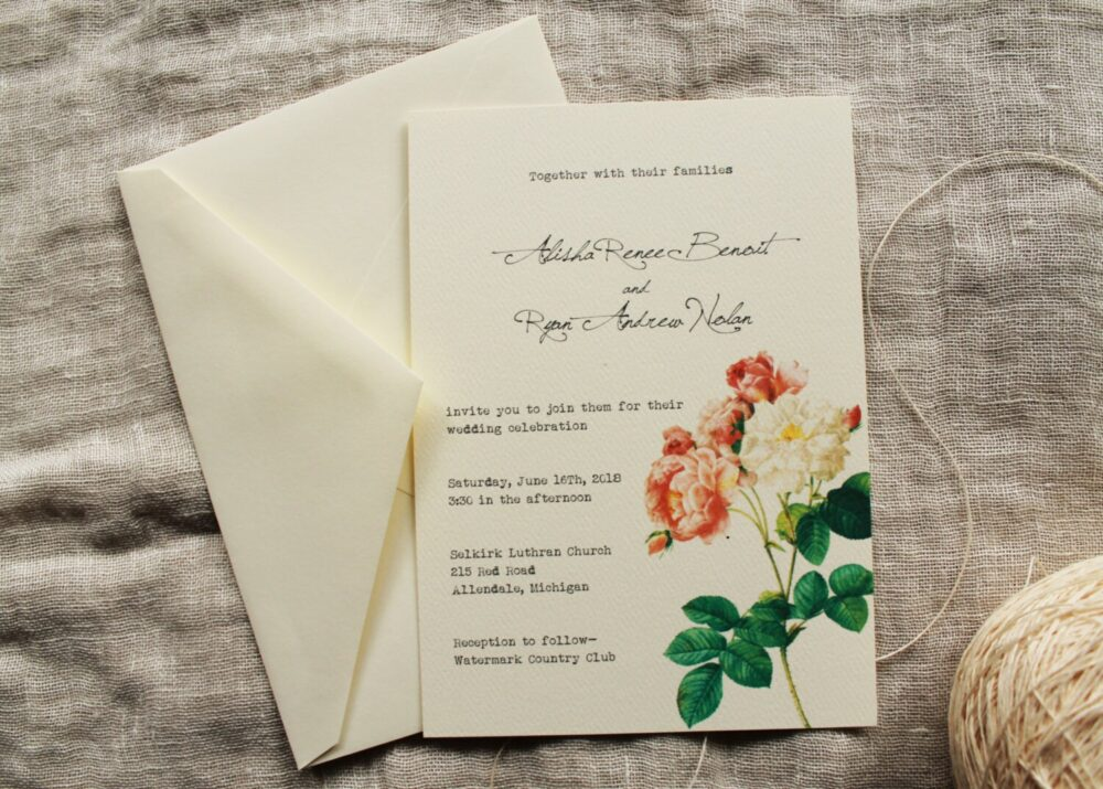 Pink Rose Wedding Invitation Collection | Blush Garden Invitations Printed Floral Downloadable