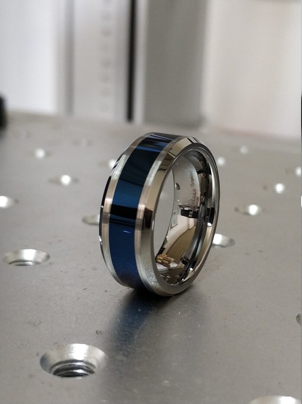 Shiny Blue Tungsten Ring, Band, Wedding & Silver Band Ring
