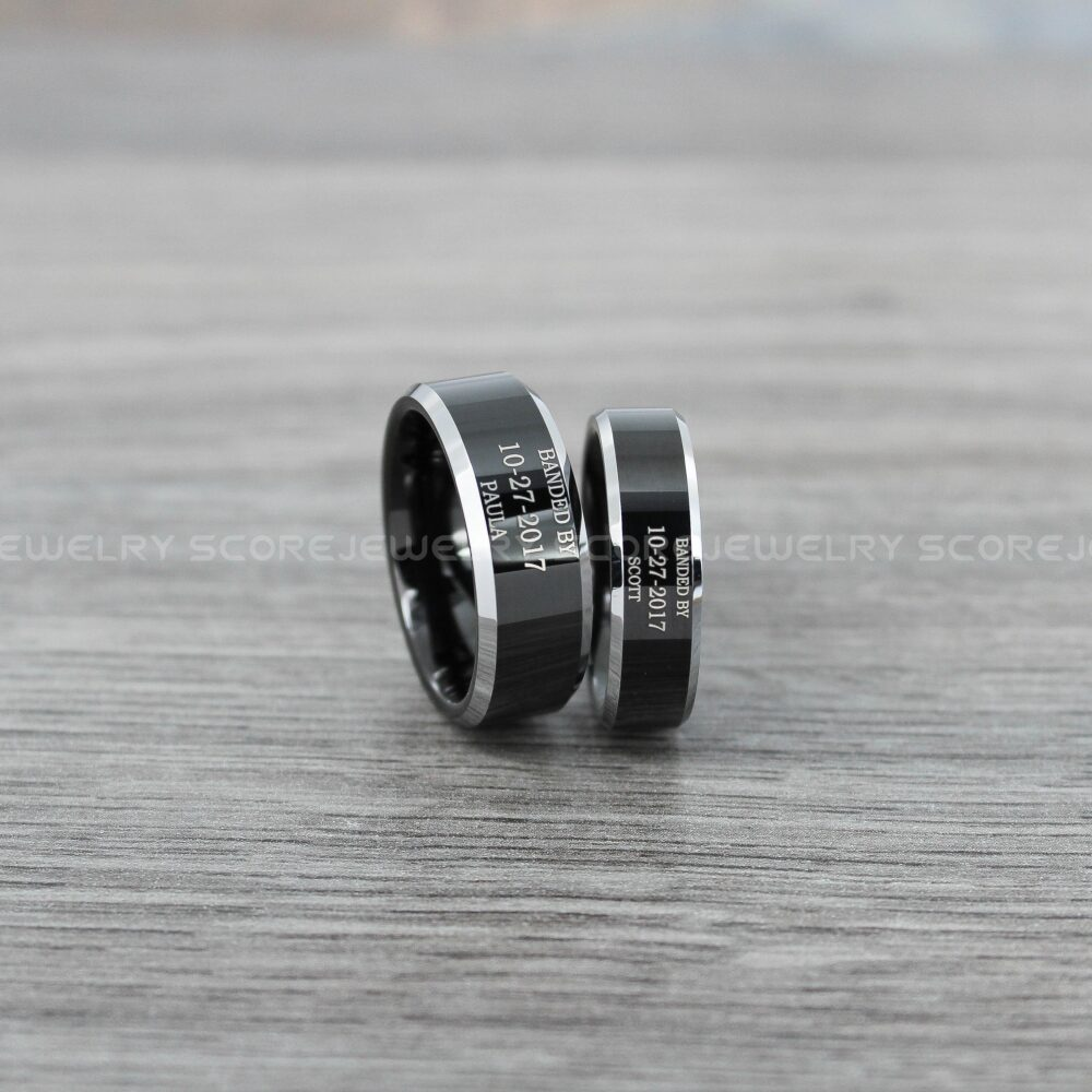 Duck Band Rings, Bands, Black Wedding Ring, 2 Piece Couple Set Tungsten Bands With Beveled Edge Customized Names & Special Date