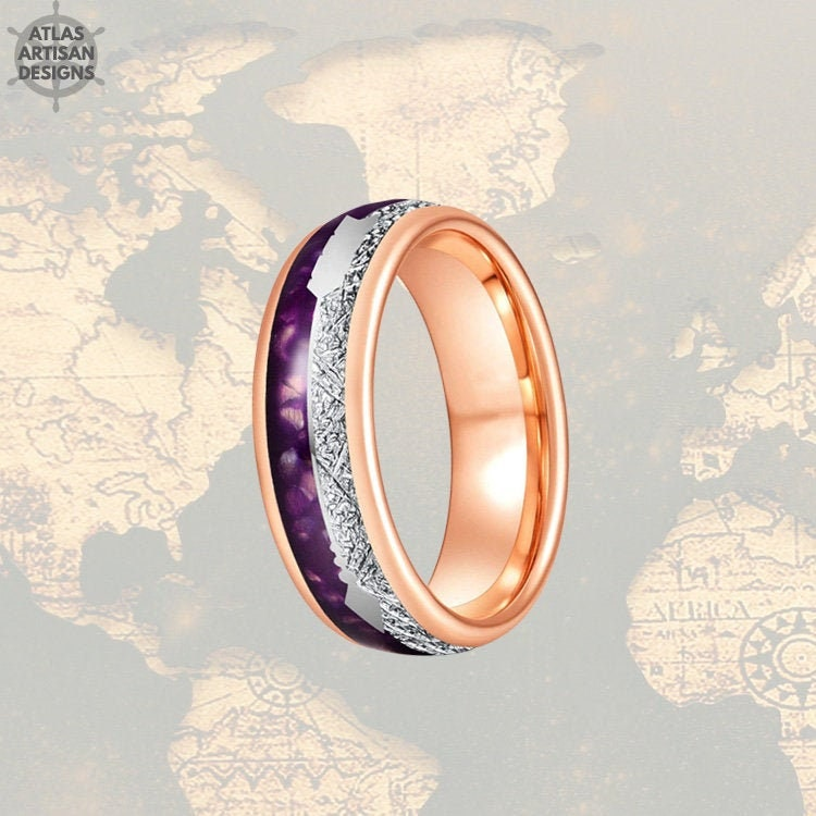 6mm Agate Stone Ring Rose Gold Wedding Bands Women Ring, Tungsten Womens Band Meteorite Purple &