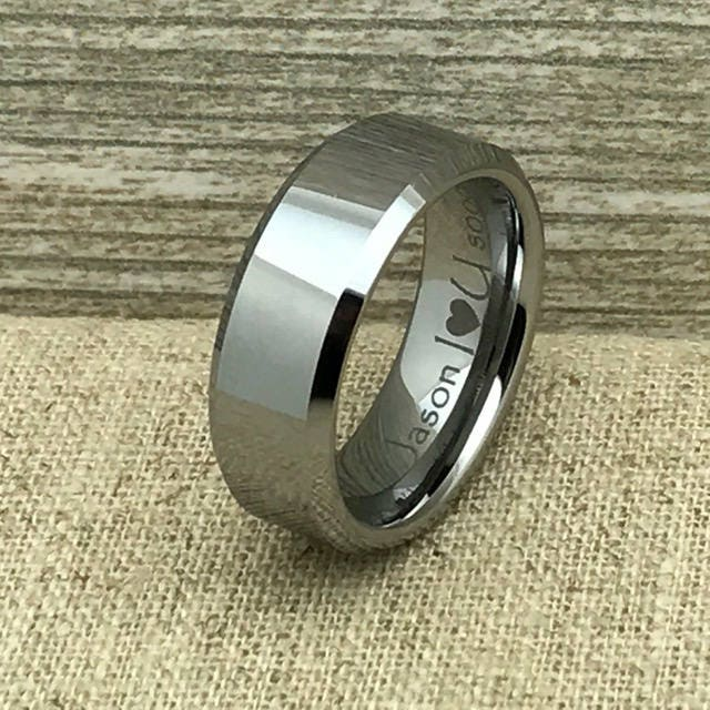 Tungsten Ring, Wedding Personalized Engrave Band, Comfort Fit, Father's Day Gift-Ihwtcr004