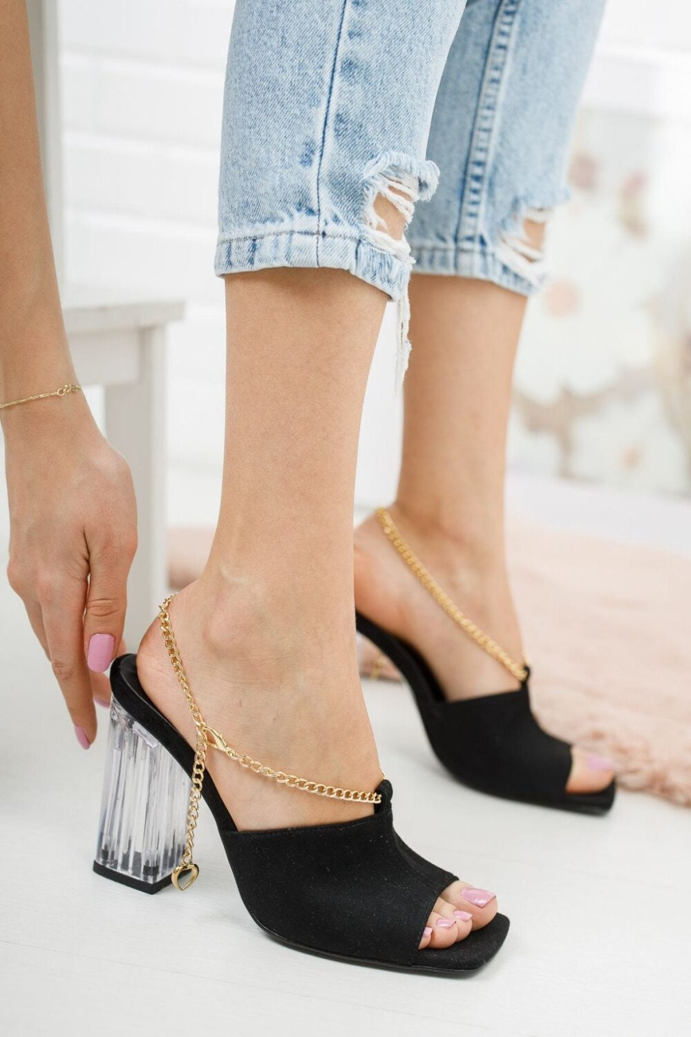 Black Open Toe Gold Chain Clear Heels Sandals For Womens Wedding Shoes, Classic Fashionable Barefoot 10 cm Heel