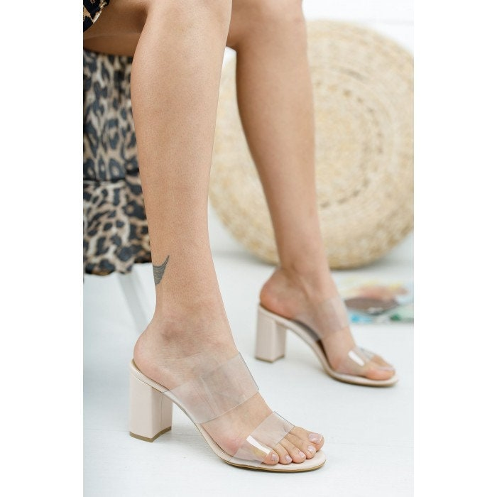 Cream 8 cm Heel Open Toe Clear Cream Wedding Block Heels Shoes, Barefoot Sandals For Bridal Shoes & Everyday
