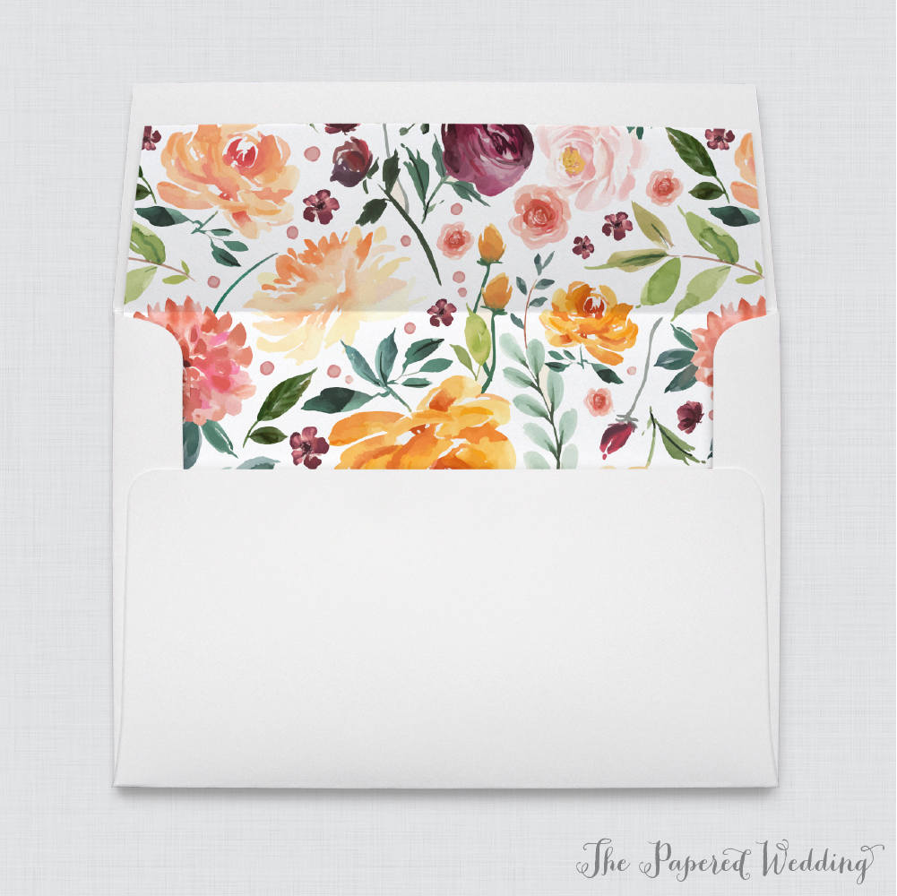 Fall Flower Wedding Envelope Liners - White A7 Envelopes With Rustic Autumn Floral Liners, Orange, Pink, Burgundy, Green Liner 0008