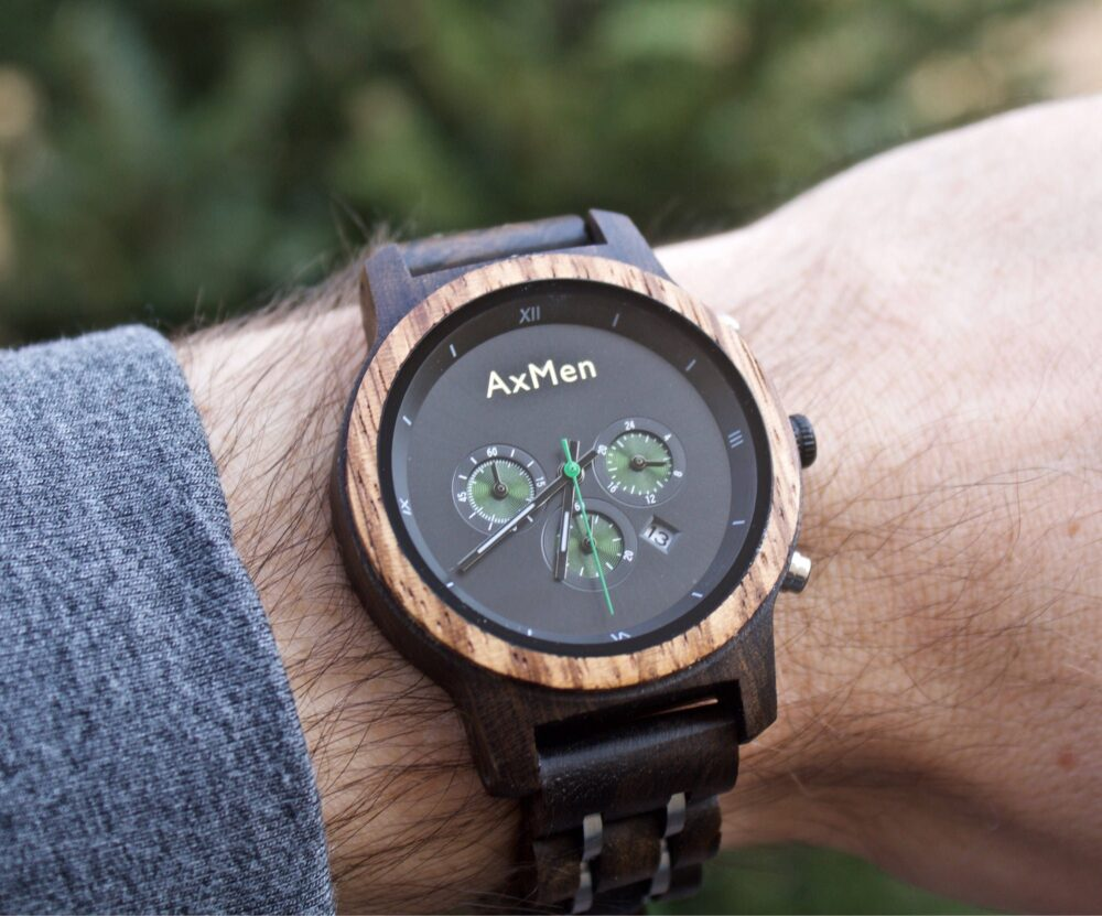 Free Engraving, Wood Watch, Mens Wooden Chronograph Personalized Wedding Groom Gift