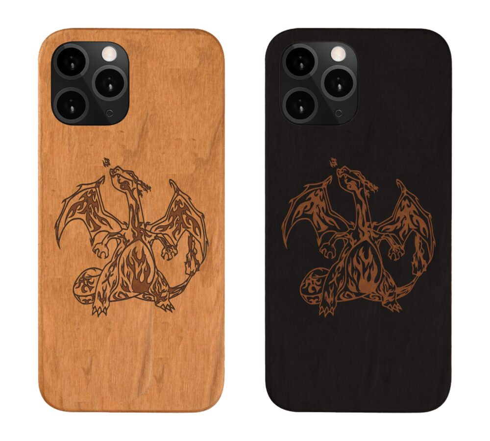 Google Pixel 4A , 4 Xl Charizard Wood Phone Case Samsung S20 Note 20 Plus, Iphone 12, Engraved Personalized , Best Gift For Couples