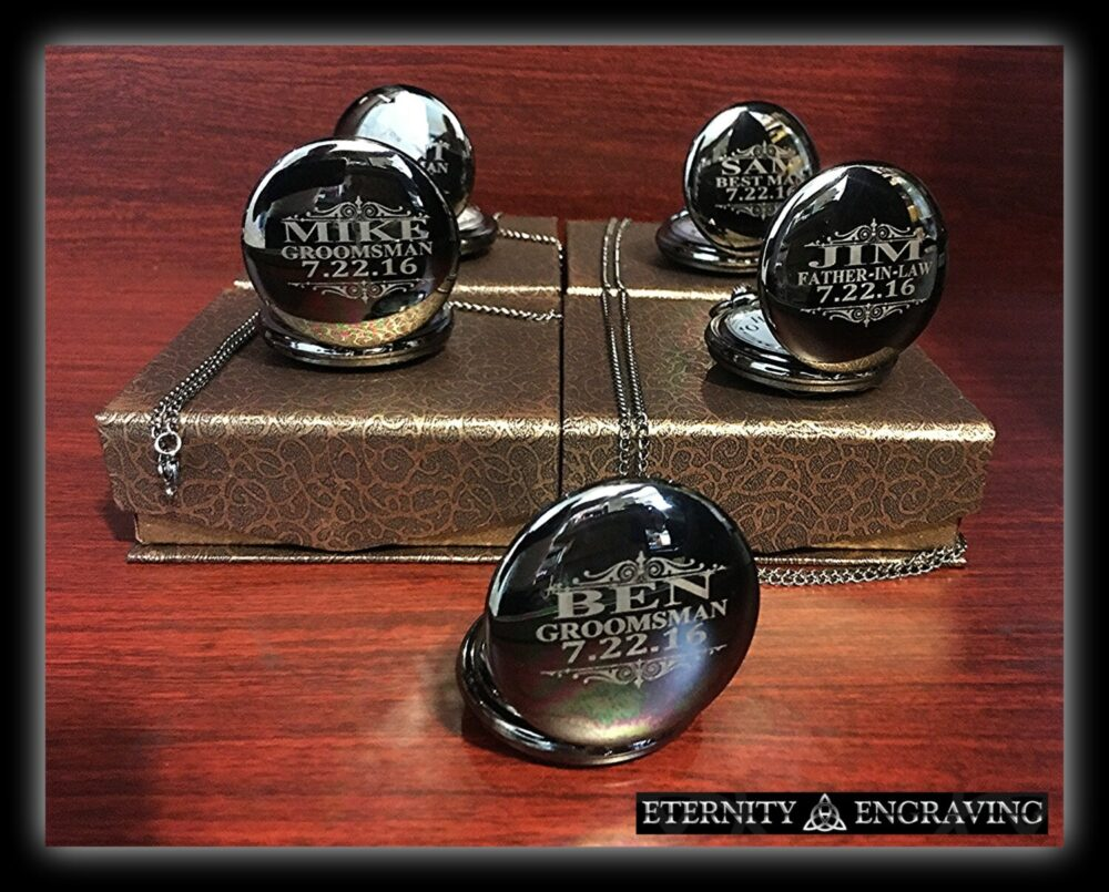 5 Groomsmen Gifts- Silver Laser Engraved Pocket Watches - -Personalized Gift -Gold Wedding Gifts For Him