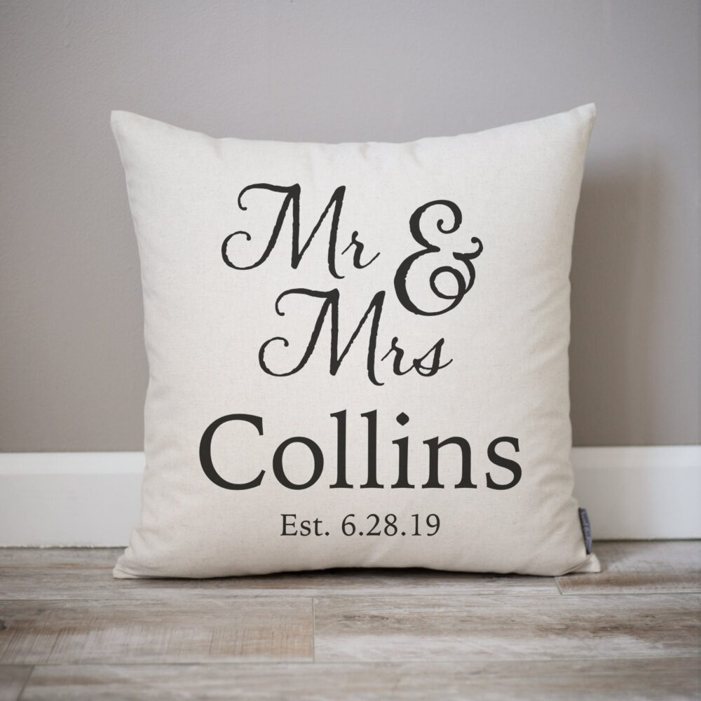 Wedding Gift   Gifts Personalized Pillow Newlywed Engagement Rustic Linen For Bride
