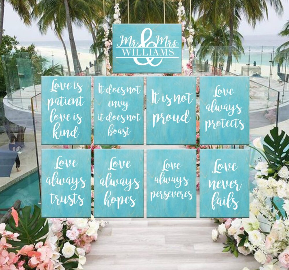 Personalized Wooden Wedding Signs, 1 Corinthians 13, Love Is Patient Love Is Kind, Ceremony Decor, Aisle Signs, Set Of 9 11 13