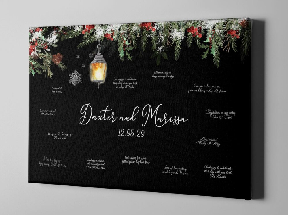Winter Canvas Guest Book, Wedding Guestbook Alternative, Christmas Party Guestbook, Unique Holiday Gift Ideas - Cgb349