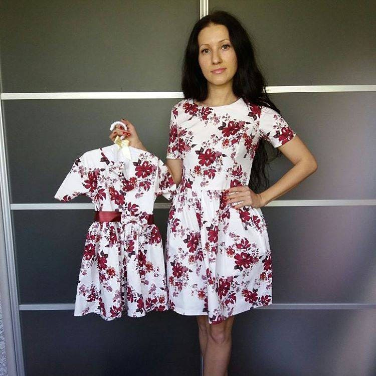 Mother Daughter Floral Matching Dress, Family Formal Cotton Special Occasion Mommy & Me, Photoshoot Mini Me