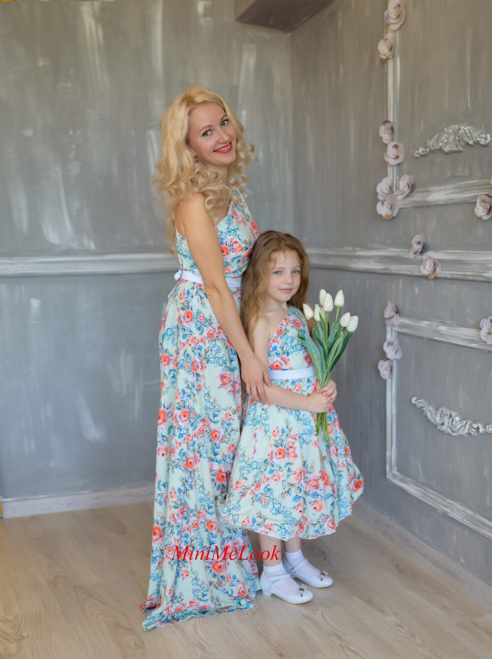 Autumn Mommy & Me Outfits, Floral Maxi Dress, Matching Mother Daughter Photoshoot Birthday Party Special Occasion