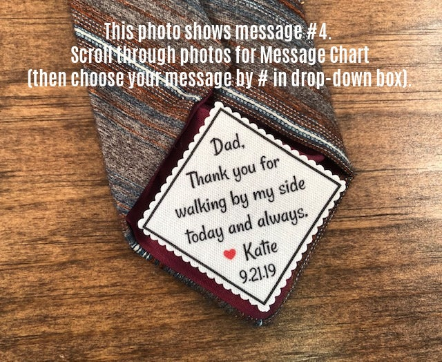 Gift For Dad - Tie Patch, Father Of The Bride, Groom, Iron On, Sew Little Heart, 2 Wide Personalized Patch