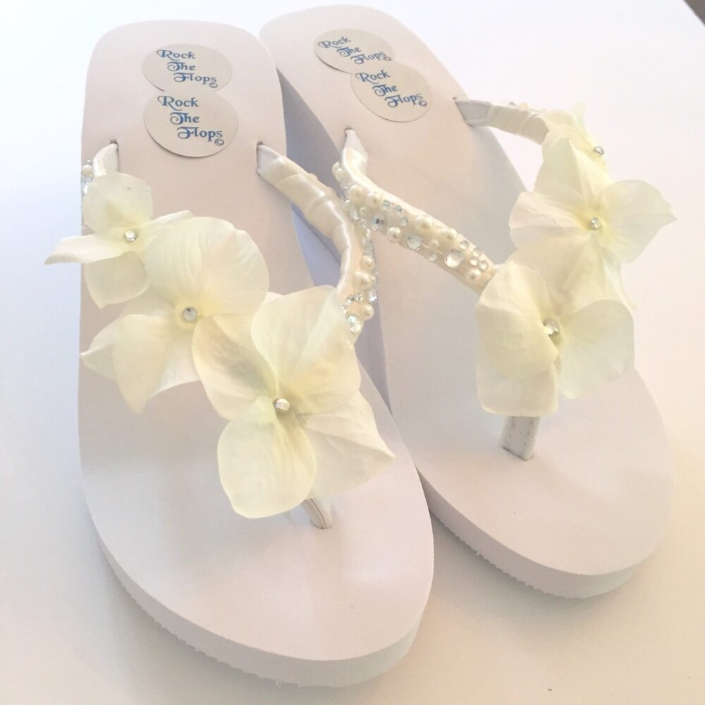 Wedged Rhinestone Wedding Flip Flops. Bling Bridal Shoes. Crystal Pearl Shoes For Beach .decorated Gem Sandals