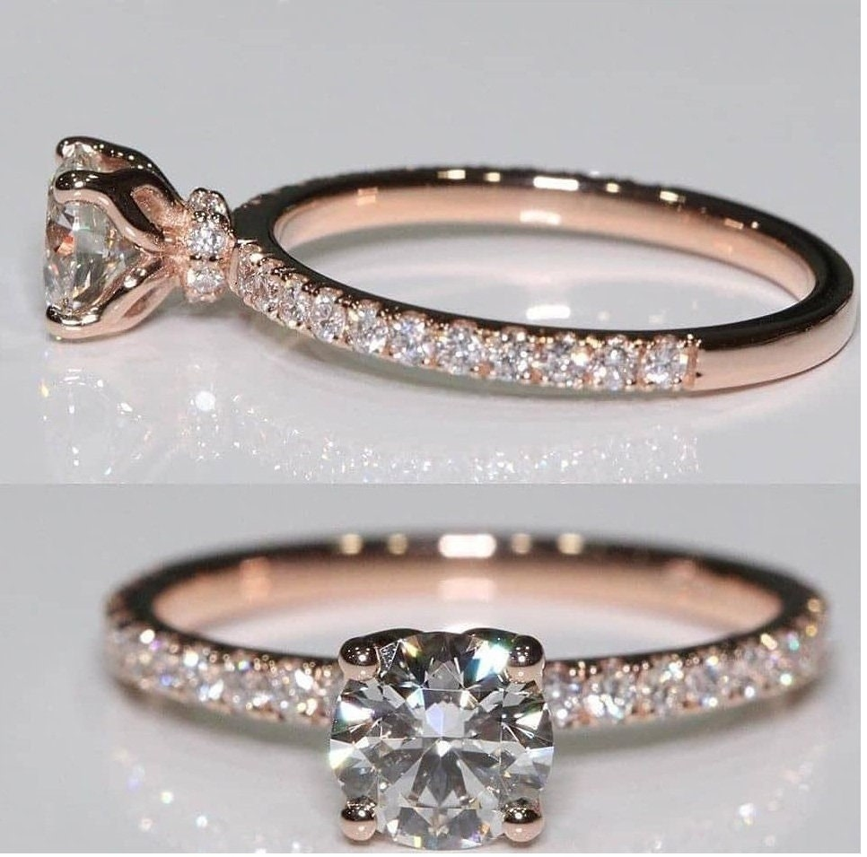 Beautiful Engagement Diamond Ring/Hidden Halo Ring Solitaire Accnets Four Prong Set /Proposal For Girls /Velentine Gift