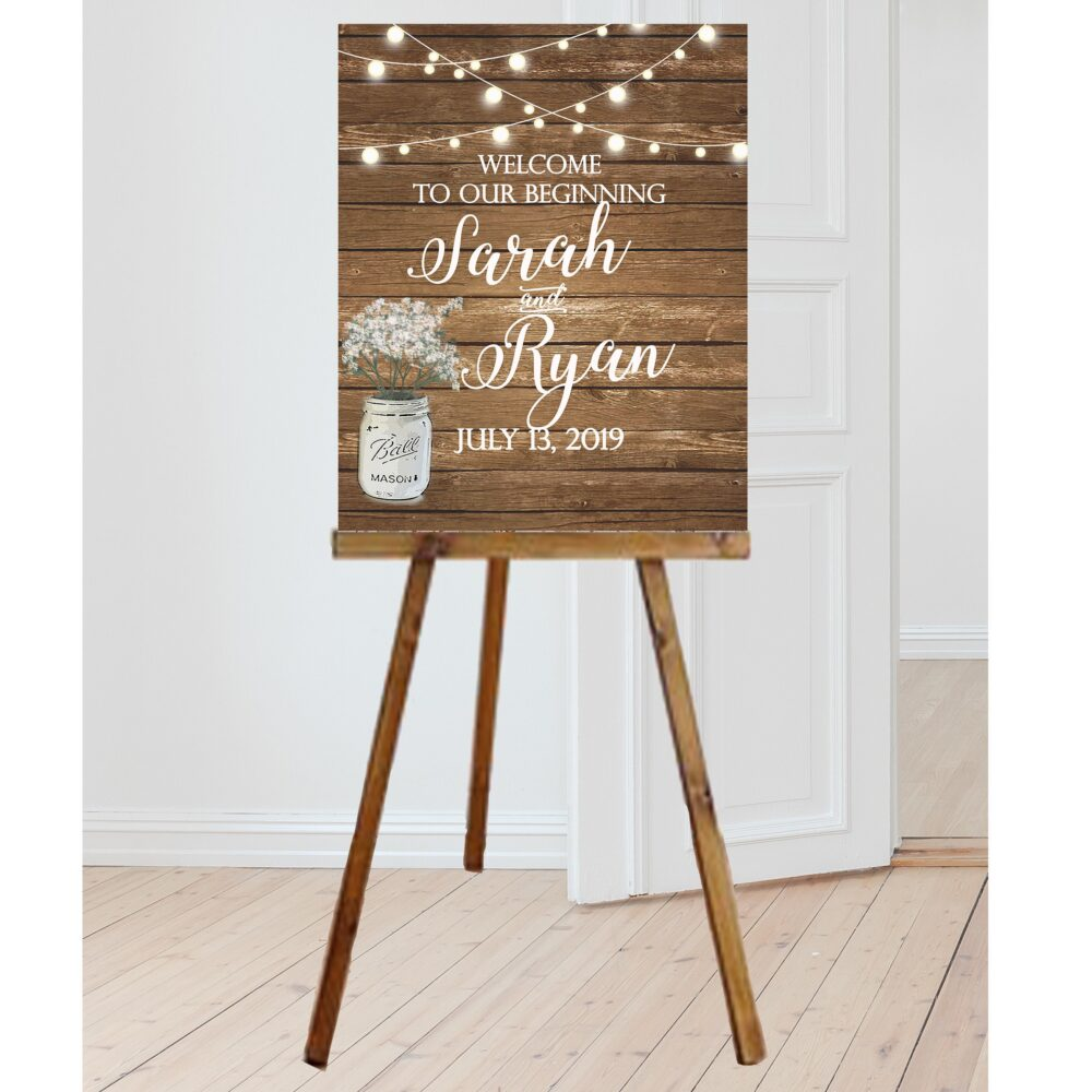 Rustic Wedding Signs - Rustic Wedding Welcome Sign With Mason Jar Of Babies Breath, Personalized Decor, Country