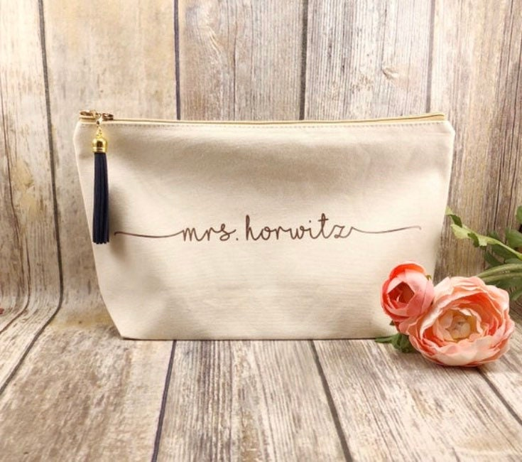 Large Personalized Natural Canvas Makeup Bag, Bridesmaid Gift, Customized Gift For Girlfriend, Bff