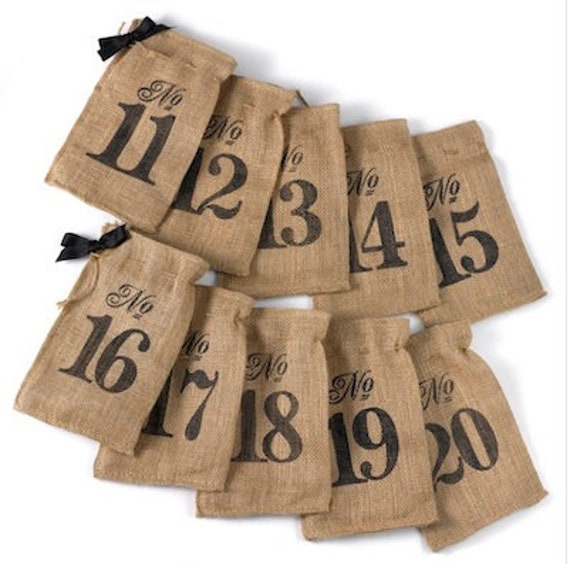 Burlap Table Number Wine Bags | Set Of 10 Bags Numbered 11-20