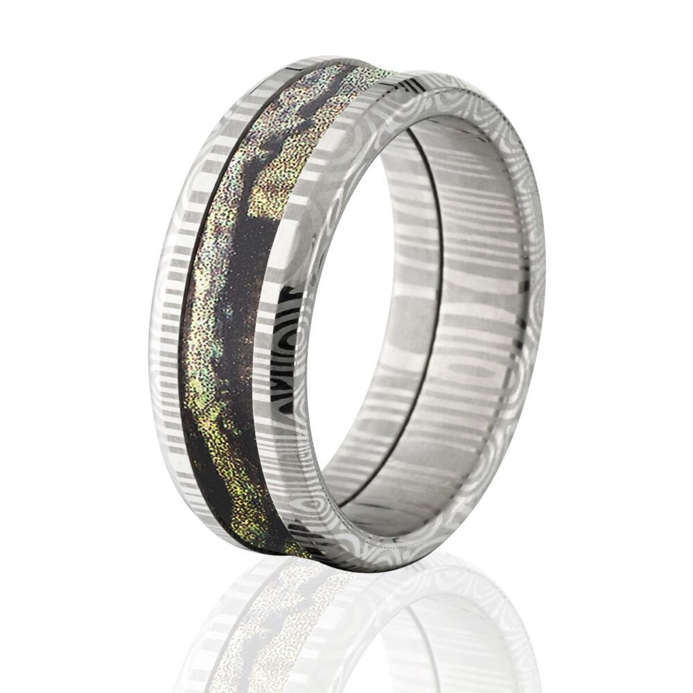 Damascus Steel 8mm Wide Camo Ring, Custom Made Mossy Oak Ring With Break Up Infinity ds 8T Bui