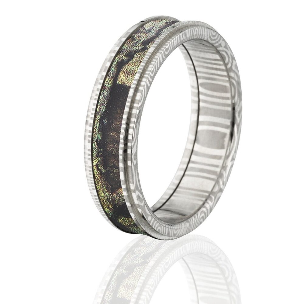 Damascus Steel Camo Ring, Custom Made Mossy Oak Ring With Break Up Infinity Ds 6Rc Bui
