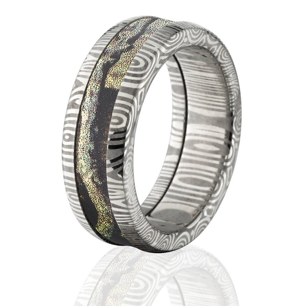 Damascus Steel Custom Made Mossy Oak 8mm Ring With Break Up Infinity Ds 8Hr Bui