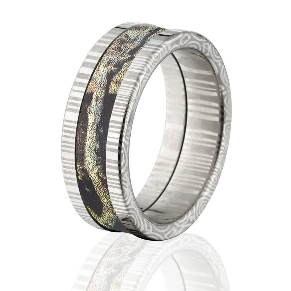 Damascus Steel 8mm Ring With Mossy Oak Break Up Infinity Ds 8F Bui