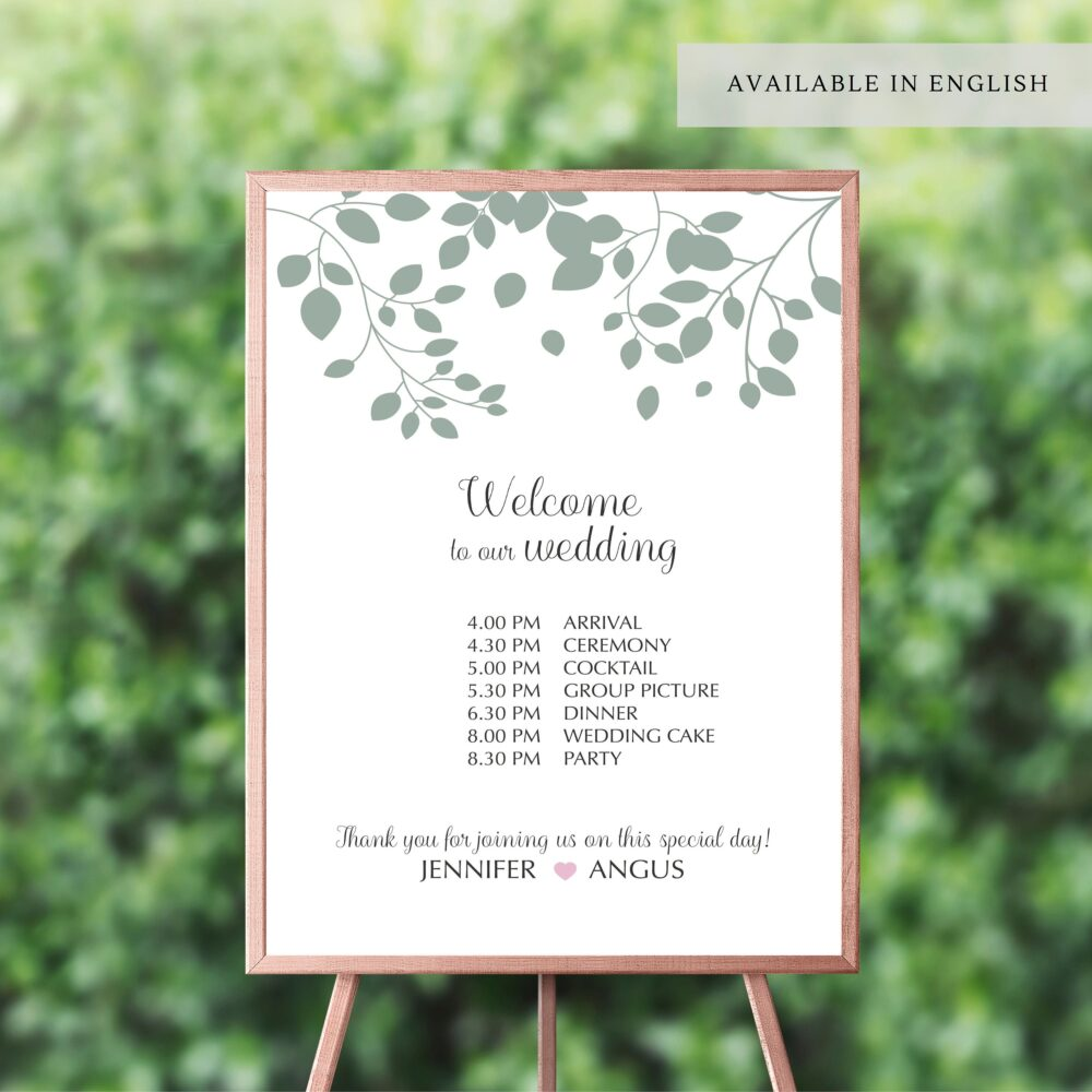 Wedding Day Timeline, Sign Including Schedule Of Events, Order Events For Your Wedding, Editable To Showcase Wedding Day Agenda #024