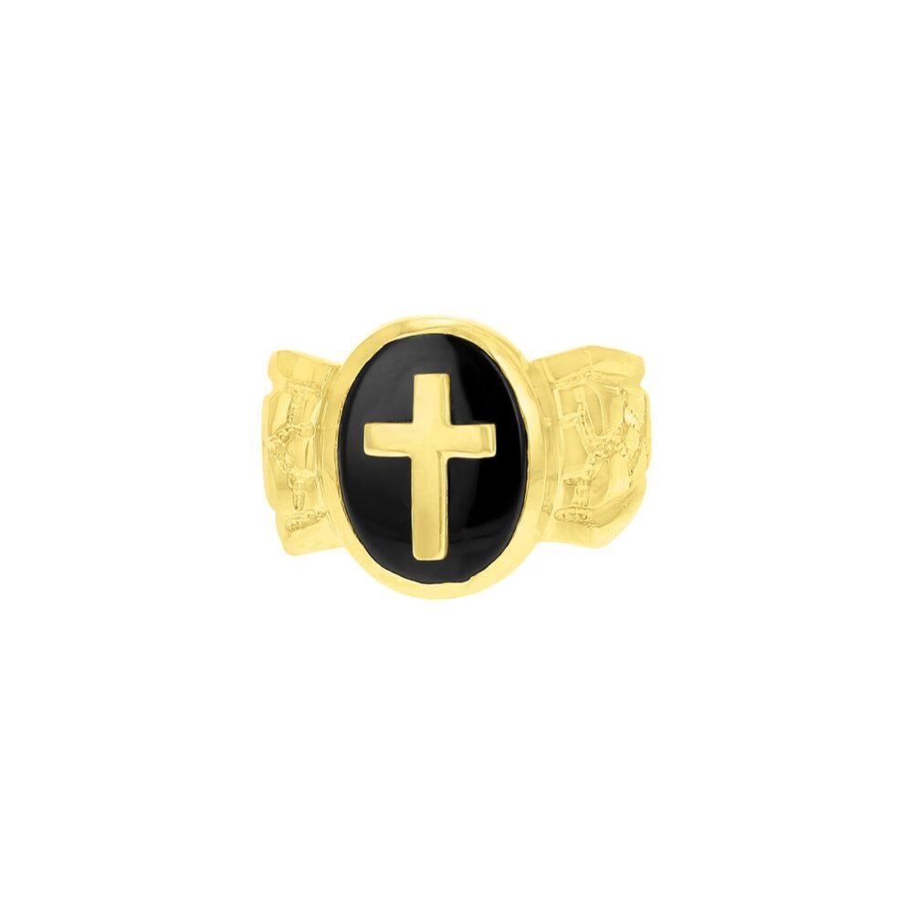 Men's Onyx Cross 14K Yellow Gold Ring - Gift For Him, Fathers Day, Dad, Black Ring, Pinky Statement Oval Onyx