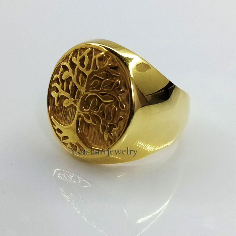 Tree Of Life Ring, Personalized Silver Mens Stylish Handmade Men's Punk Gift For Dad, Ring