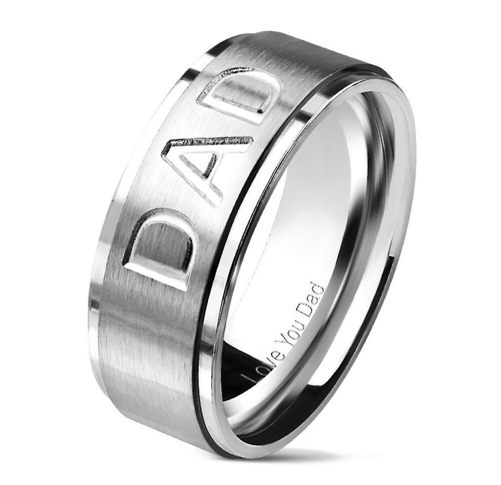"""Dad Deep Cut Center Love You Dad Stepped Edges Stainless Steel Ring"""""""