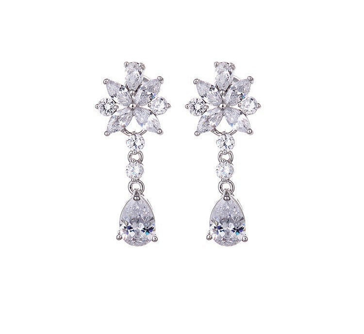 Bridal Wedding Earrings Floral Teardrop Design Cubic Zirconia Stone Drop Dangle For Bride Or Bridesmaid | Jewelry Collection