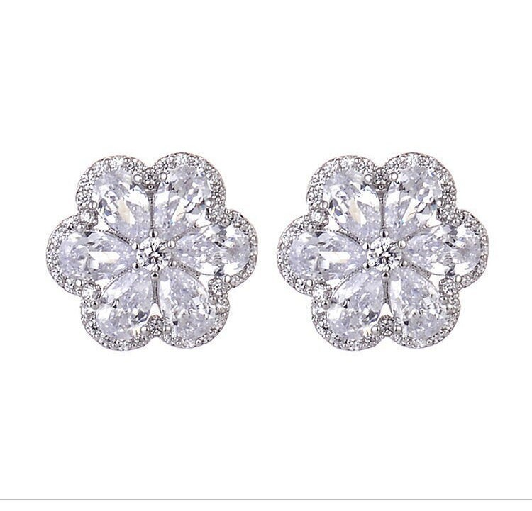 Bridal Wedding Earrings Cherry Blossom Petals Design Cubic Zirconia Stone Stud For Bride Or Bridesmaid | Jewelry Collection