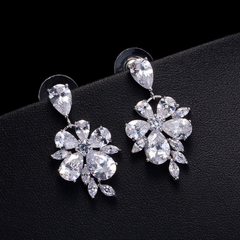 Bridal Wedding Earrings Floral Design Cubic Zirconia Gemstone Drop Dangle For Bride Or Bridesmaid | Jewelry Collection