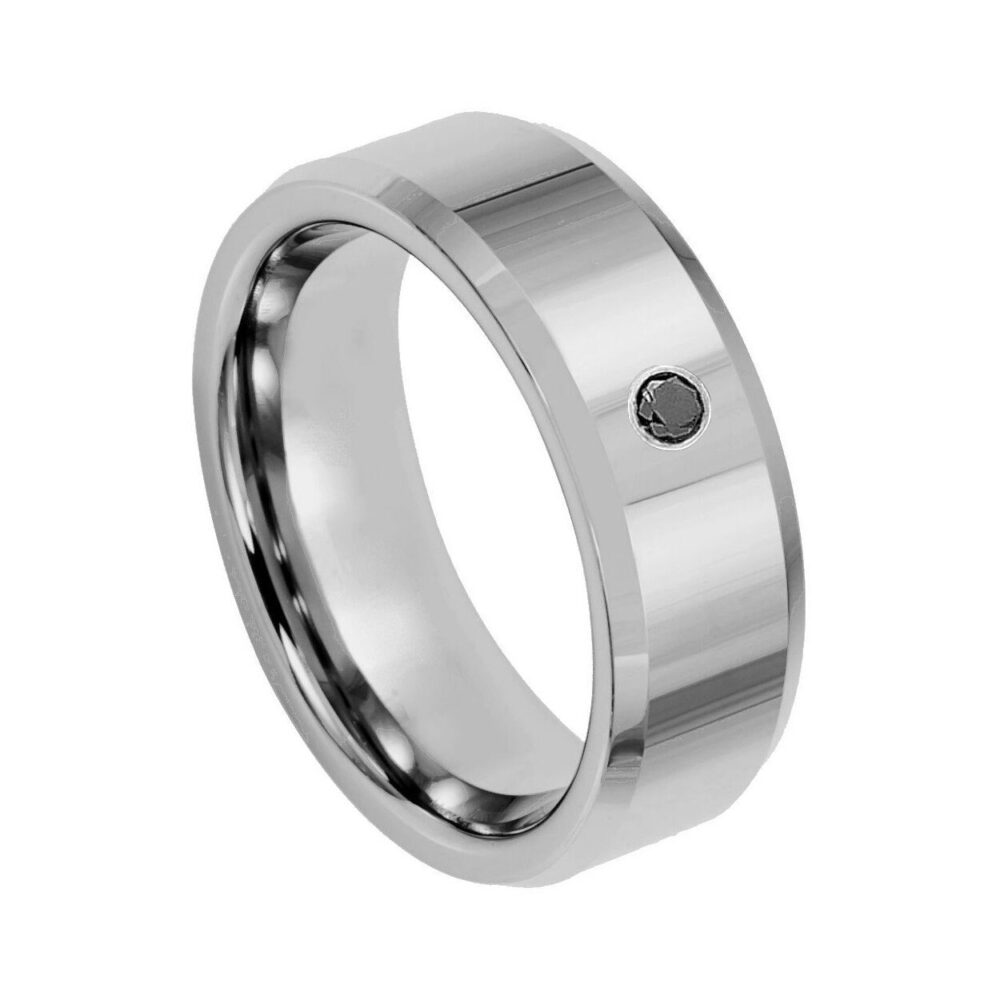 Mens Black Diamond Tungsten Ring Solitaire Wedding Band Personalized Engraved 8mm