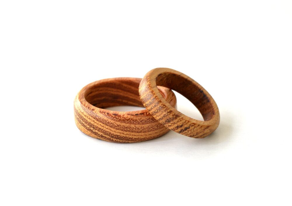 Wooden Wedding Band, Acacia Wood Ring Set, His & Hers Bands, Promise For Couples, Wood