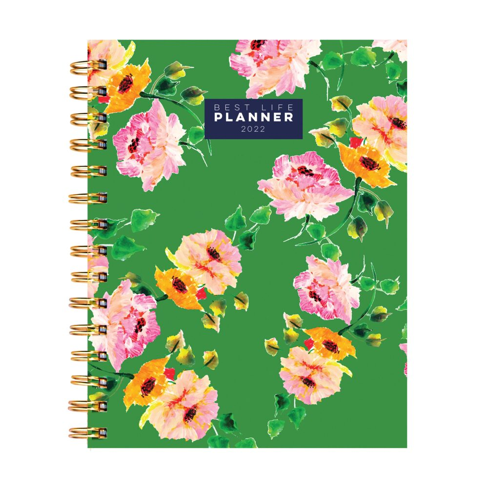 """January 2022-December 2022 Floral Green 7 X 9 Daily Weekly Monthly Luxe Planner"""""""