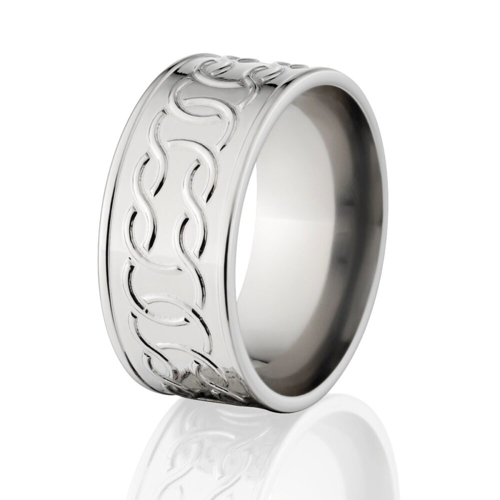 Milled Custom Cobalt Celtic Ring Knot Mens Wedding Band Ring Made in The Usa C-10F-C4P