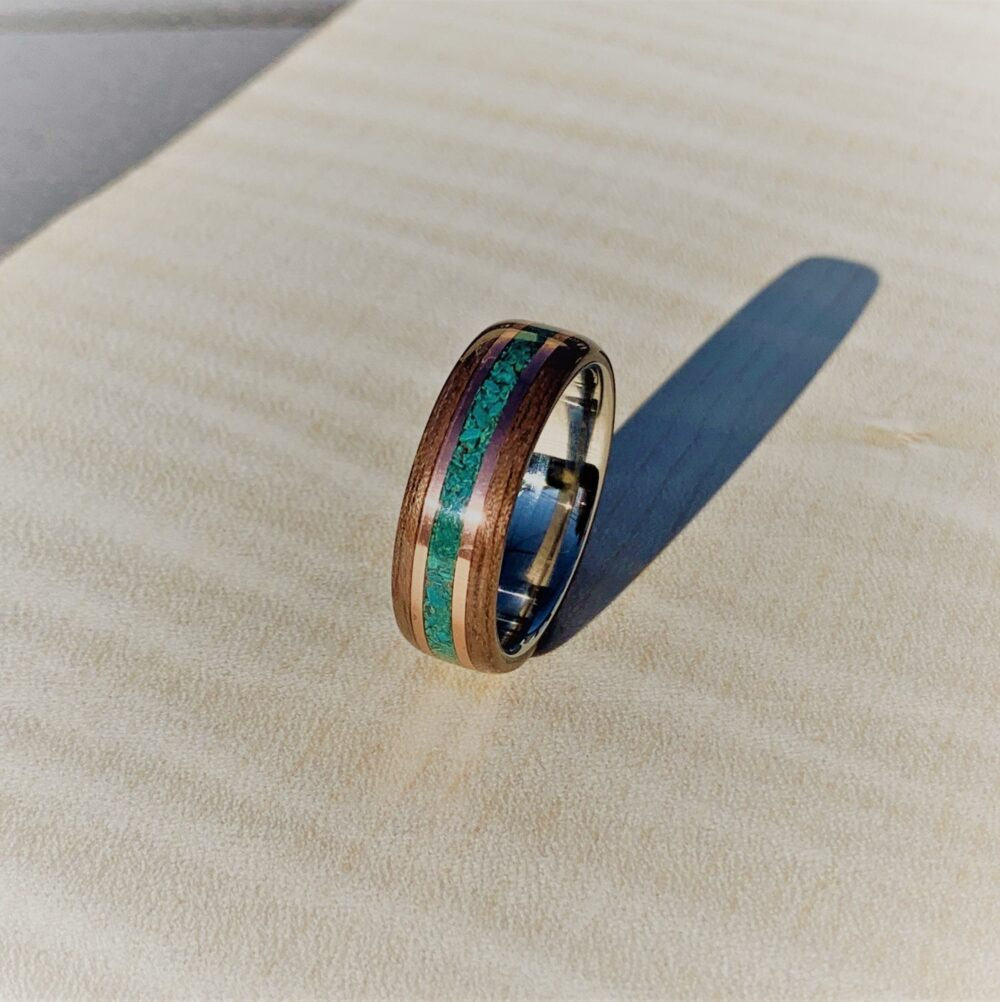 stainless Band Walnut Wedding Ring Turquoise Inlay Copper Anniversary Gift Men Woman Promise Custom Handmade Wooden