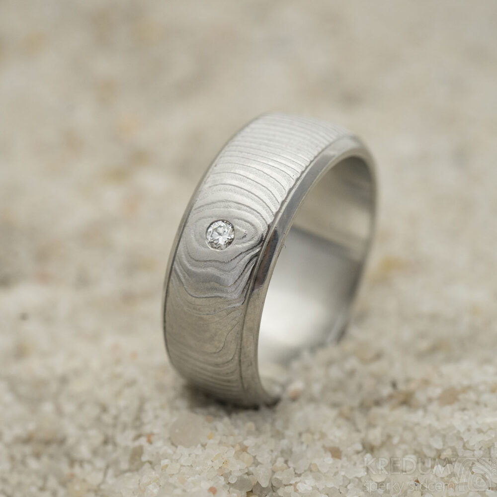 Diamond Simple Wedding Band, Handmade Damascus Stainless Steel Ring For Woman, Female Gentle Engagement - Kasiopea With Diamond