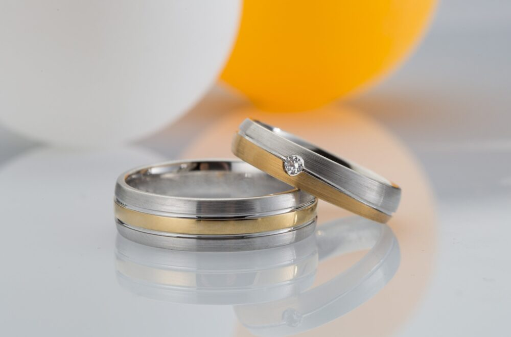 Wedding Band Set/6mm, 5mm 14K Or 18K Gold Polished Dome White Yellow Rose With Diamond, Gold Band Set
