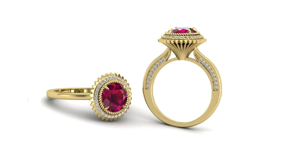 Round 8.00 Ruby Engagement Bridal Ring For Her, Vintage Art Deco Moissanite Ring, Antique Women, Floral Flower Mom
