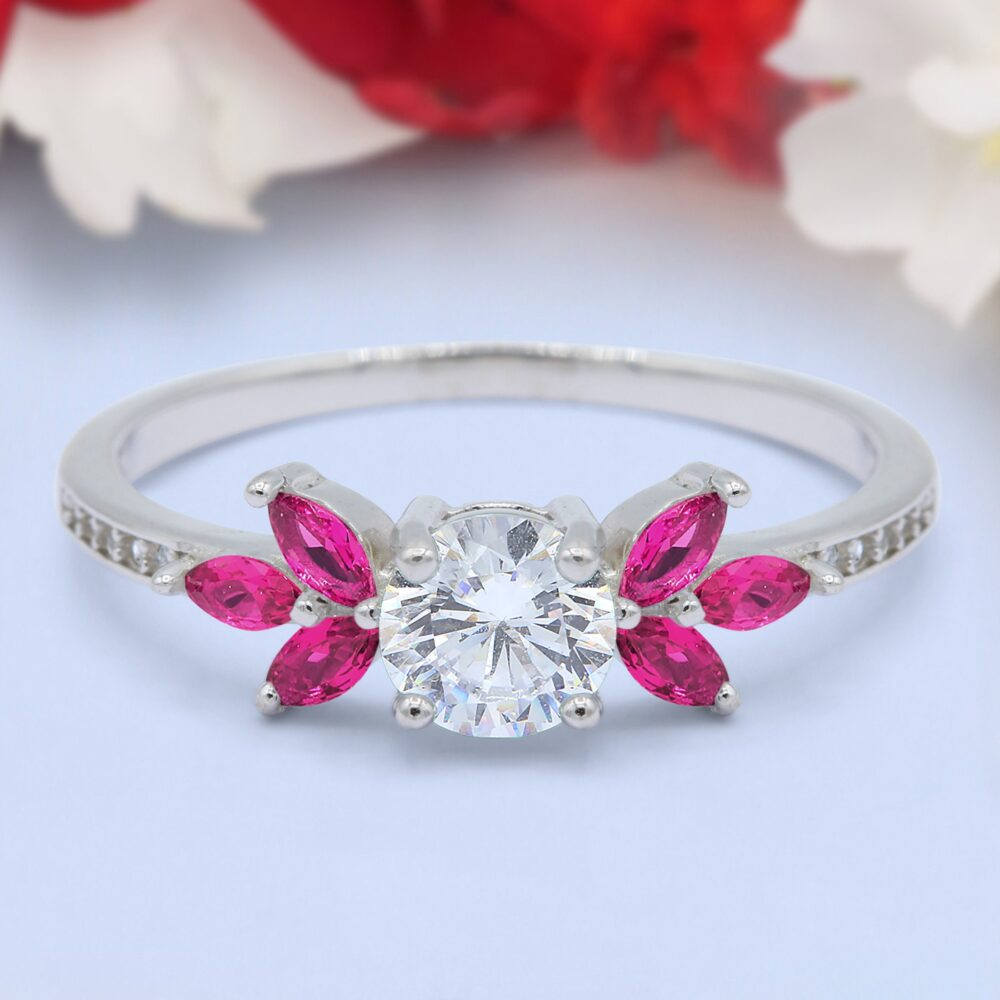 Art Deco Engagement Bridal Ring Marquise Simulated Ruby Round Diamond 925 Sterling Silver